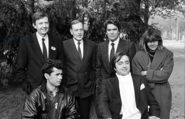 Behind : Etienne Mougeotte, Patrick Le Lay, Bernard Tapie and Dominique Cantien ; Front : Michel Gillibert and Jose Goncalves (Disabled) For Presentation of A Program About Disabled on Tf1 (French Television Channel) on March 30, 1990 (b/w photo)