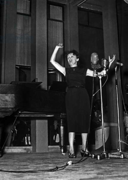 Edith Piaf on Stage, 1951 (b/w photo)