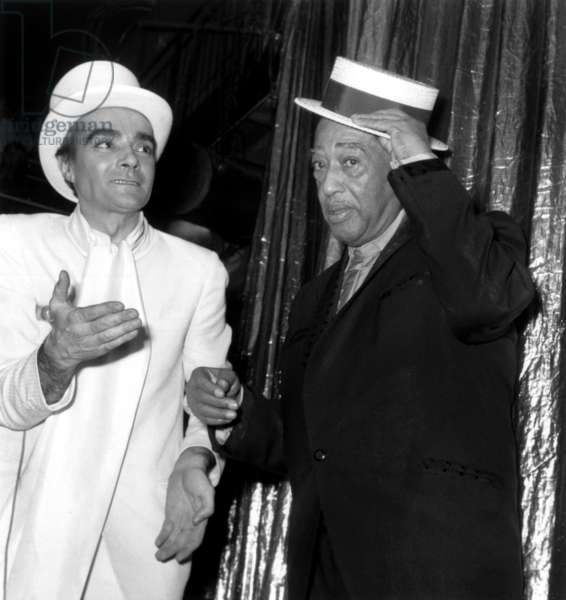 Jean-Marie Riviere and Duke Ellington at The Alcazar in Paris, November 21, 1969 (Gala For The Birthday of Duke Ellington, 70) (b/w photo)