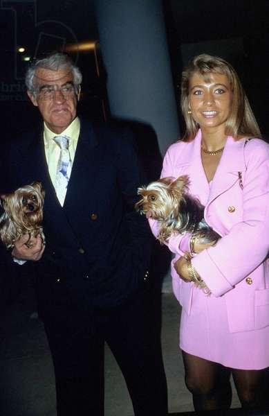 French Actor Jean Paul Belmondo With Girlfriend Nathalie Tardive April 1991 (photo)