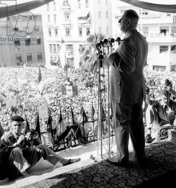 Speech of French Prime Minister De Gaulle in Mostaganem in Algeria June 6, 1958 at The Time of War in Algeria (b/w photo)