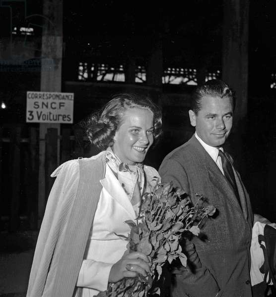 American actors  Alida Valli and Glenn Ford arriving in Paris on August 3, 1949 (they're going to Chamonix for filming of