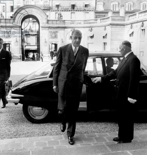 New Prime Minister General De Gaulle Arriving at Elysee Palace For Special Ministers Council About Tax Measures July 31, 1958 Period of War in Algeria (b/w photo)
