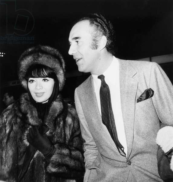 Michel Piccoli and his Wife Juliette Greco Leaving in Moscow January 3, 1967 (b/w photo)