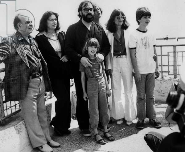 Director Francis Ford Coppola With his Family (With Daughter Sofia) at Cannes Film Festival 1979 Cinema (b/w photo)