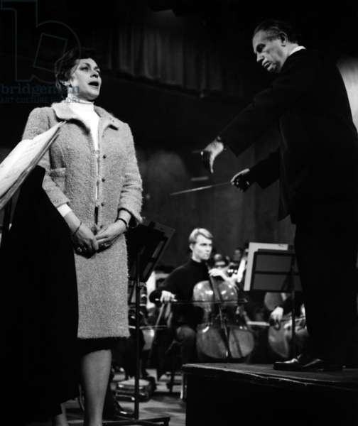 Elisabeth Soderstrom and Antal Dorati, in rehearsal with the Philharmonic Orchestra at La Salle Pleye, Paris, 1966 (b/w photo)