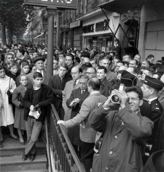 Jean Paul Sartre Protesting To Support Algerians Who Were Arrested and Expulsed After Demonstration Against Curfew in Paris (On October 17, 1961) at The Time of The War in Algeria (b/w photo)