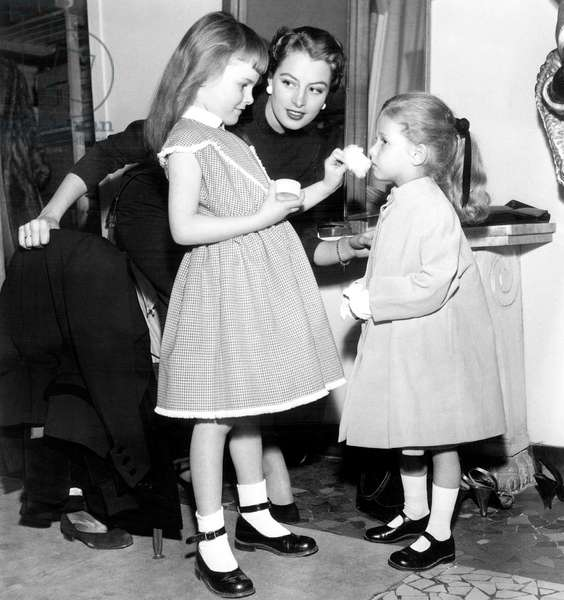 Young Models Preparing For Children Fashion Show Under The Eye of Star Model Capucine January 31, 1953 (b/w photo)