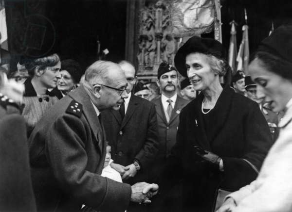 After Mass Before Notre Dame The General Camas Military Governor of Paris Saluting The Marechale Therese Leclerc De Hautecocque November 26, 1967 (b/w photo)