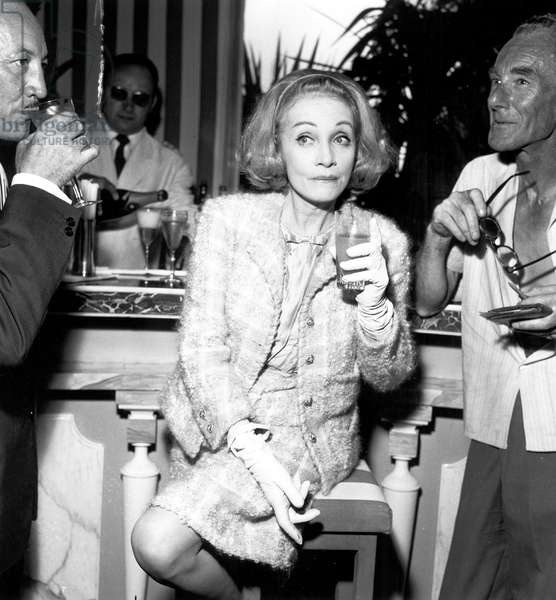 Marlene Dietrich at The Iron Mask Ball in Cannes July 21, 1964 (b/w photo)