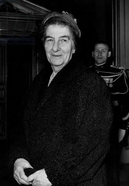 Golda Meir (1898 - 1978), Mnister of Foreign and European Affairs in Israel, Going Out of The Hotel Matignon, Paris, March 16, 1956 (b/w photo)