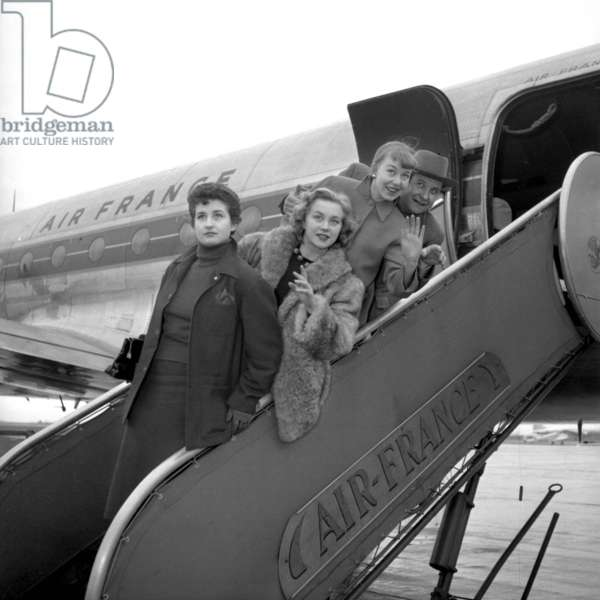French Singer and Jazzman Fred Adison Going in Algeria With Models, 1951 (b/w photo)