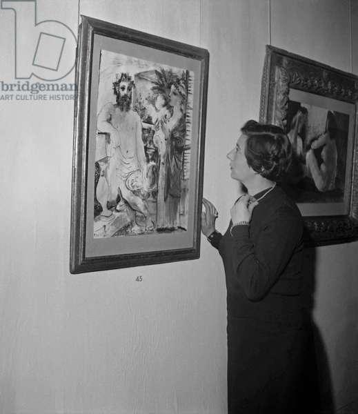 Exhibition of Pablo Picasso's artwork among which 'Scene de Famille'' in Maison de la Pensee Francaise in Paris, on November 28,1950