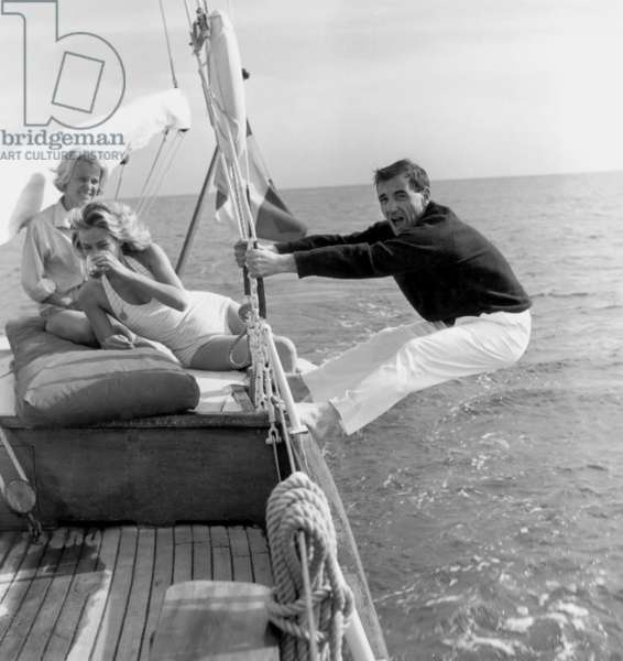 Charles Aznavour, Nicole Berger and Elga Andersen at Cannes Film Festival on May 8, 1959 (b/w photo)