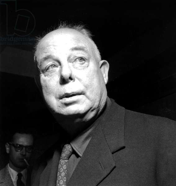 French Director Jean Renoir (1894-1979) on September 21, 1954 (b/w photo)