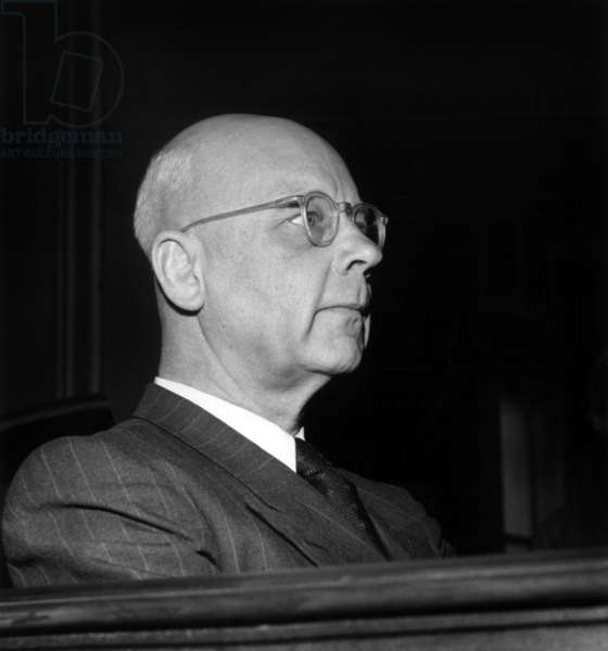 Trial of Karl Oberg, Higher Ss and Police Leader (Hsspf) of France during Occupation, on February 22, 1954 in Paris (b/w photo)