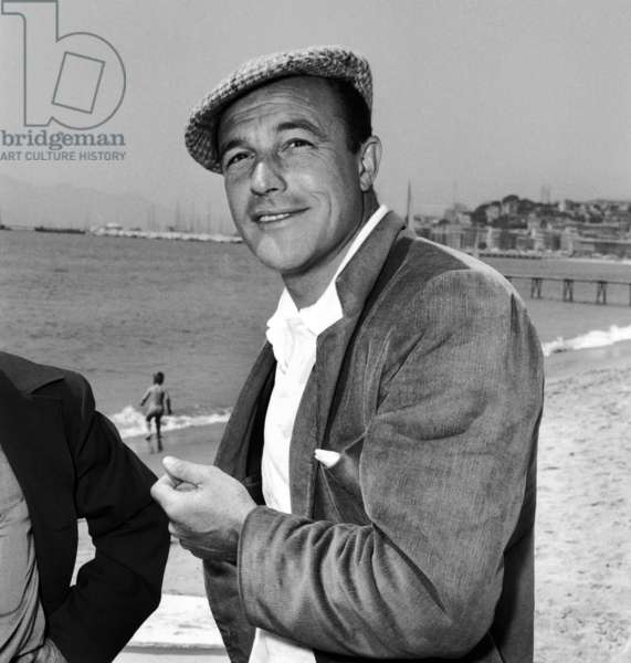 Actor Gene Kelly at Cannes Film Festival May 1955  (b/w photo)