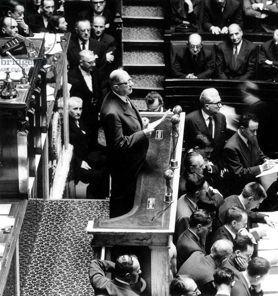 Charles De Gaulle Speaking at National Assembly For Prime Minister Investiture June 01, 1958 (b/w photo)