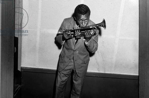 Miles Davis Kissing Trumpet C. 1954 (b/w photo)