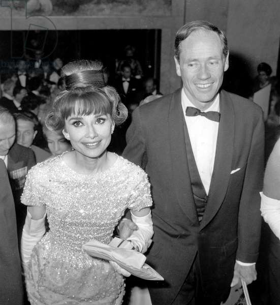 Audrey Hepburn and Husband Mel Ferrer at Gala For Film The Longest Day in Paris September 26, 1962 (b/w photo)