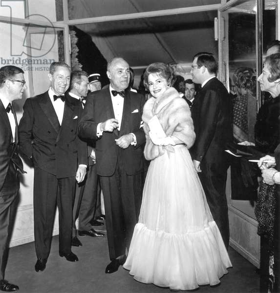 Charles Boyer and Olivia De Havilland at Opening of Cannes Film Festival May 14, 1965 (b/w photo)