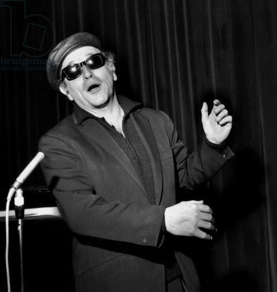 French Singer Leo Ferre during Rehearsals in Bobino March 17, 1965 (b/w photo)