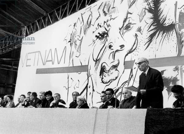 Simone De Beauvoir, Joseph Kessel ,Laurent Schwartz, Alfred Kastler, Jean Paul Sartre, Elsa Triolet, Louis Aragon during The Days of Intellectuals Against War in Vietnam March 23, 1968 (b/w photo)