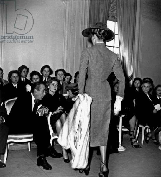Humphrey Bogart and Lauren Bacall With Marie Louise Bousquet at Dior Fashion Show in Paris March 22, 1951 Haute Couture (b/w photo)