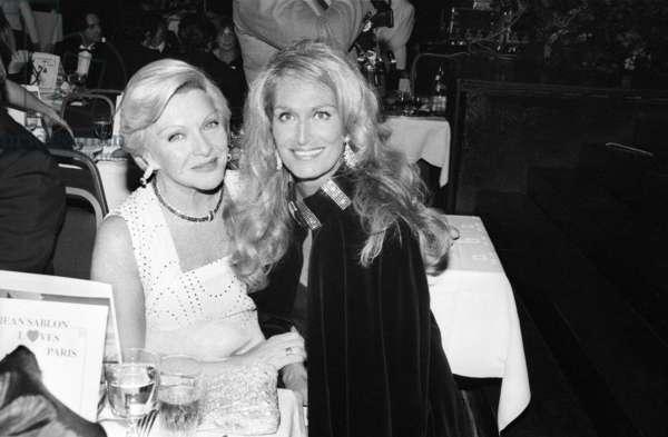 Line Renaud and Dalida at A Gala, November 26, 1982 (b/w photo)