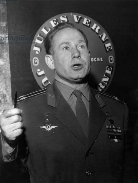 The Cosmonaut Alexis Leonov at The Jules Verne Exhibition in Parisduring A Press Conference, April 1, 1966 (b/w photo)