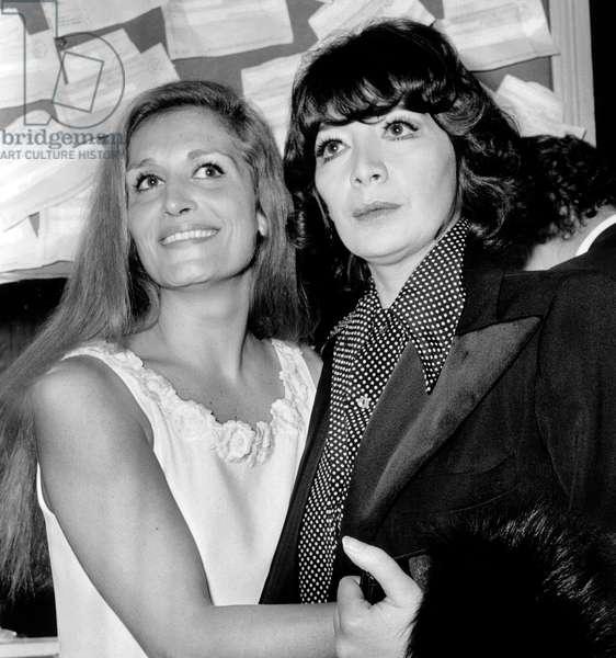 Singer Juliette Greco Congratulating Dalida After Concert November 24, 1971 (b/w photo)