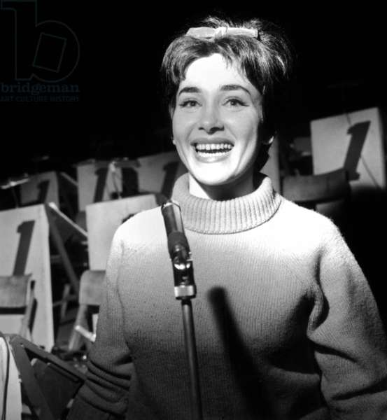 Rika Zarai during Rehearsals For Concert at Olympia December 05, 1962 (b/w photo)