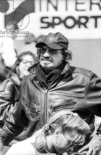 rench actor Jean Paul Belmondo attending Roland Garros tennis tournament on June 8, 1990 (b/w photo)