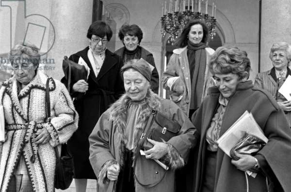 The Day of The Woman at The Elysee Palace in Paris on March 8, 1983 : Colette Audry, Simone De Beauvoir, Yvette Roudy, Madeleine Reberioux and Segolene Royal (b/w photo)