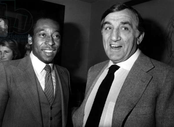 Lino Ventura With Footballer Pele in 1981 (b/w photo)