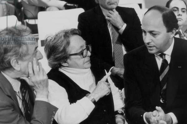 Laurent Fabius and Marguerite Duras in A TV Programme on July 2, 1987 (b/w photo)