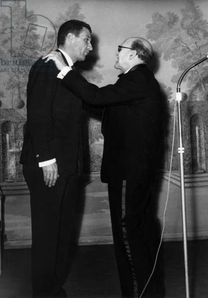 Marcel Dassault (L) Receiving The Cross of The Legion of Honour From Pierre Bigant, January 23, 1963 (b/w photo)