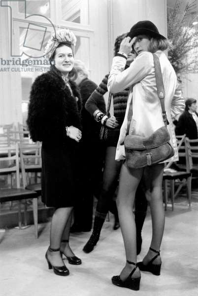 Paloma Picasso, Marisa Berenson and Loulou De La Falaise at Presentation of Yves Saint-Laurent New Collection January 29, 1971 (b/w photo)