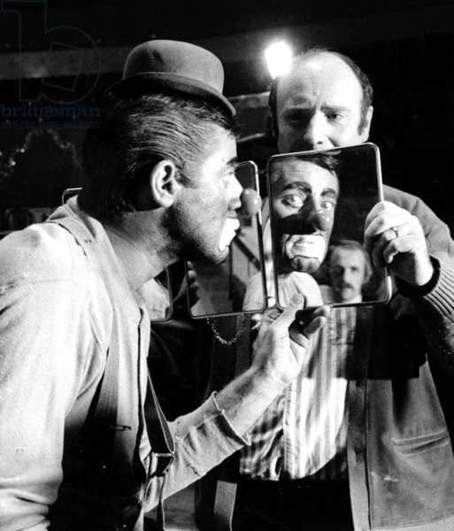 """Jerry Lewis on Set of Film """"The Day The Clown Cried"""" at The Winter Circus in Paris, With Pierre Etaix March 22, 1972 (b/w photo)"""