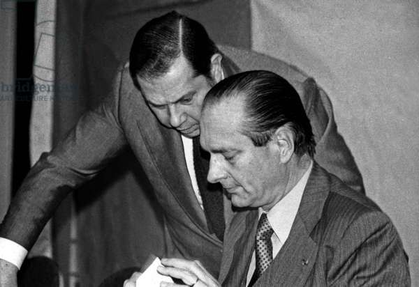 Charles Pasqua and Jacques Chirac at Meeting of The Rpr (Rally For The Republic) in Paris December 12, 1977 (b/w photo)