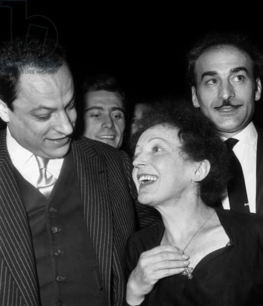 L-R : Charles Dumont, Edith Piaf, Michel Rivgauche on December 30, 1960 at The Olympia in Paris (b/w photo)