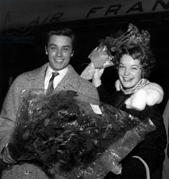 1St Meeting Between Alain Delon and Romy Schneider at The Airport in Paris, April 10, 1958 (b/w photo)
