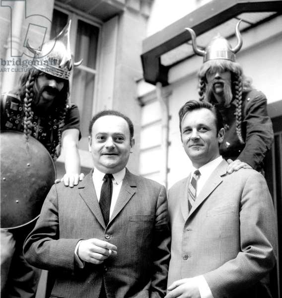 Draughtsmen Goscinny and Uderzo Announcing The Opening of Theme Park Devoted To Their Characters Asterix and Obelix March 17, 1967 Gaulois Gallic (b/w photo)