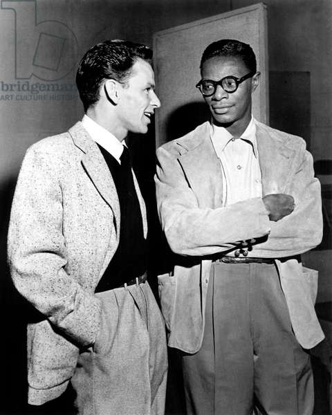 Frank Sinatra and Nat King Cole during TV Programme Metrome All Star Date, 1946 (b/w photo)