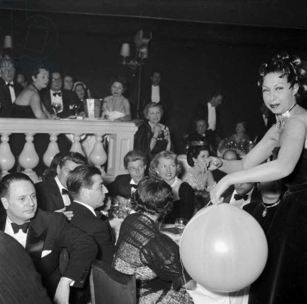 "Opening Ot The Cabaret ""Chez Josephine"" in Paris December 17, 1948 : Jean Marais, Gerard Philipe, Simone Renant and Josephine Baker (b/w photo)"