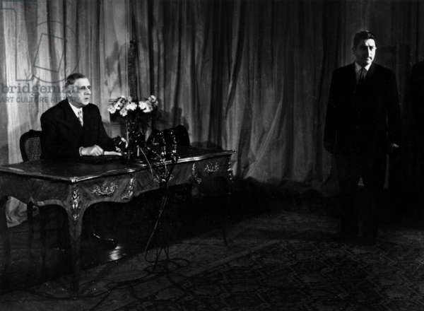 General De Gaulle and Head of French Broadcasting Channel Jacques Anjubault Preparing TV Programme For May 19, 1958 at The Time of War in Algeria (b/w photo)