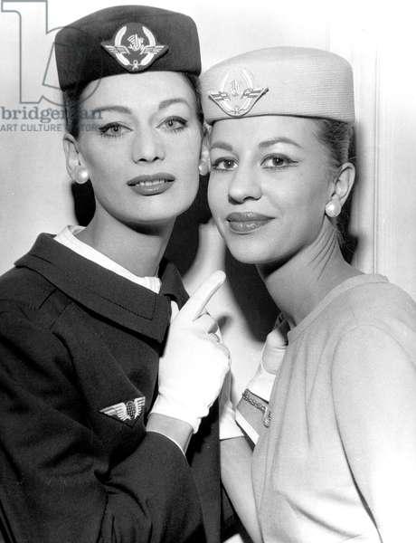 Air France Company Stewardesses in May 1960 (Uniform By Georgette De Treze) (b/w photo)