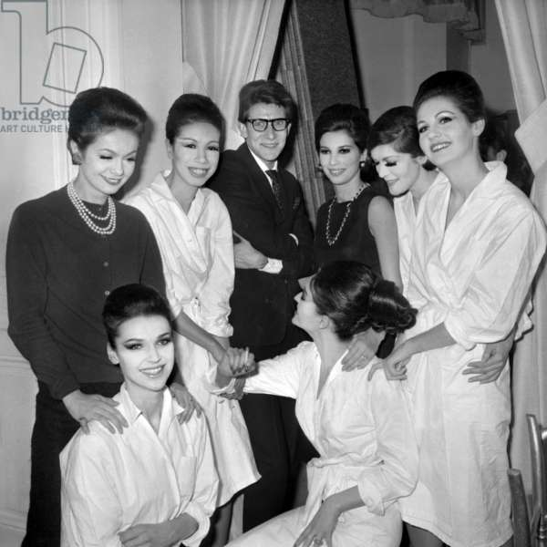"Yves Saint Laurent With his Models Among Them Victoire (C Victoire Doutreleau) After Presentation of his 1St Collection As ""Grand Couturier"" (Yves Saint Laurent Firm in Paris) January 29, 1962 (b/w photo)"