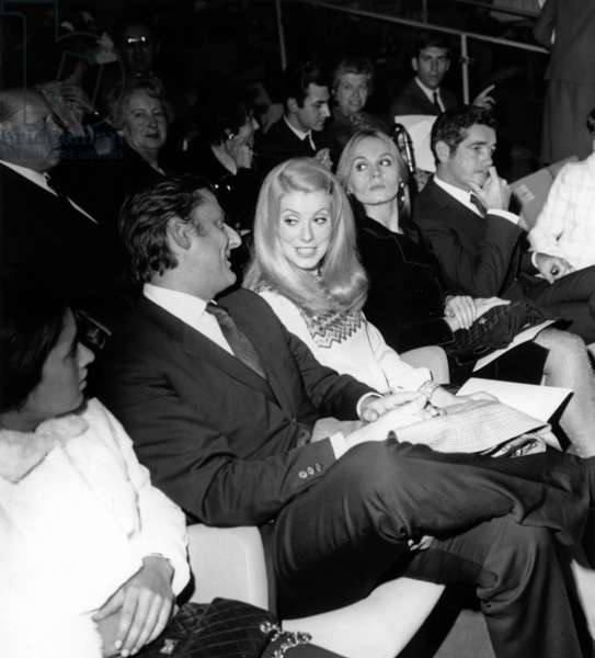 Bruno Cremer, Catherine Deneuve, Francoise Dorleac, Director Jacques Demy and his Wife Agnes Varda at Opening of Translux Pullman Cinema, Paris, November 9, 1966 (b/w photo)