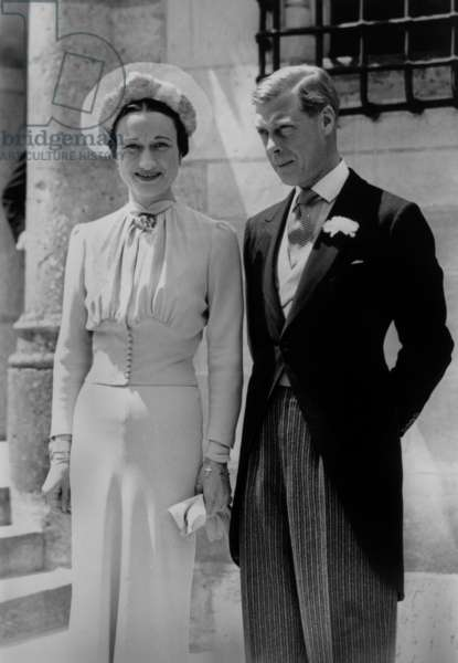 Duke Edward and Duchess Wallis Simpson Wedding at The Castle of Cande in France, June 3, 1937 (b/w photo)
